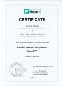 Certyfikat PANDUIT Network Cabiling System
