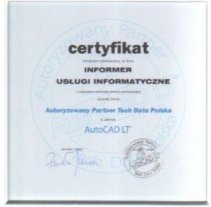 Certyfikat AutoCAD LT